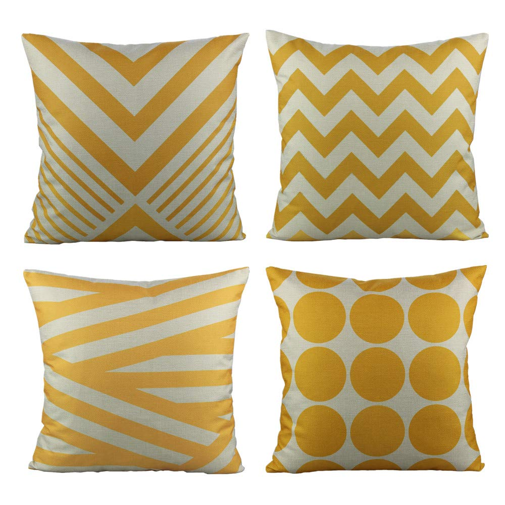 All Smiles 4-Pack Geometric Triangle Pillow Cover Cushion 18x18 Yellow Blue Black Purple Red 2017ASC316SET4FBA