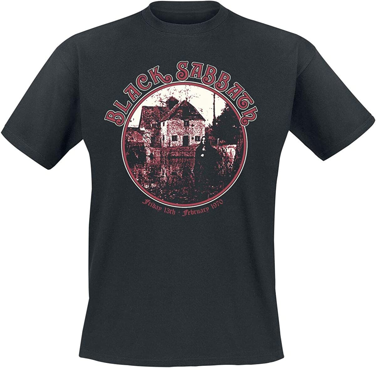 Bands Black Sabbath Anniversary House M/änner T-Shirt schwarz Band-Merch