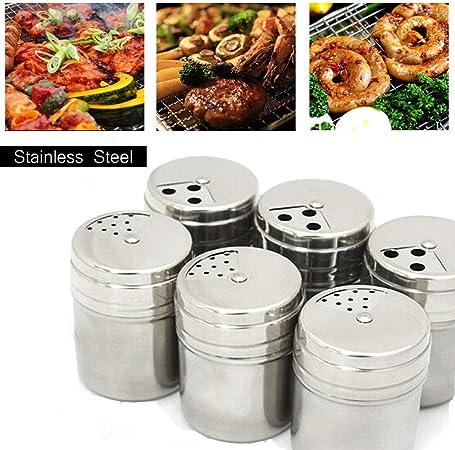 Bocaux /à /épices (7.6 /× 5 cm) en Acier Inoxydable pour Le Camping//Cuisson//Barbecue//Pique-Nique//Voyage (6 Pi/èces )#1 KBstore Pot /à /épices et Sac de Rangement Portable