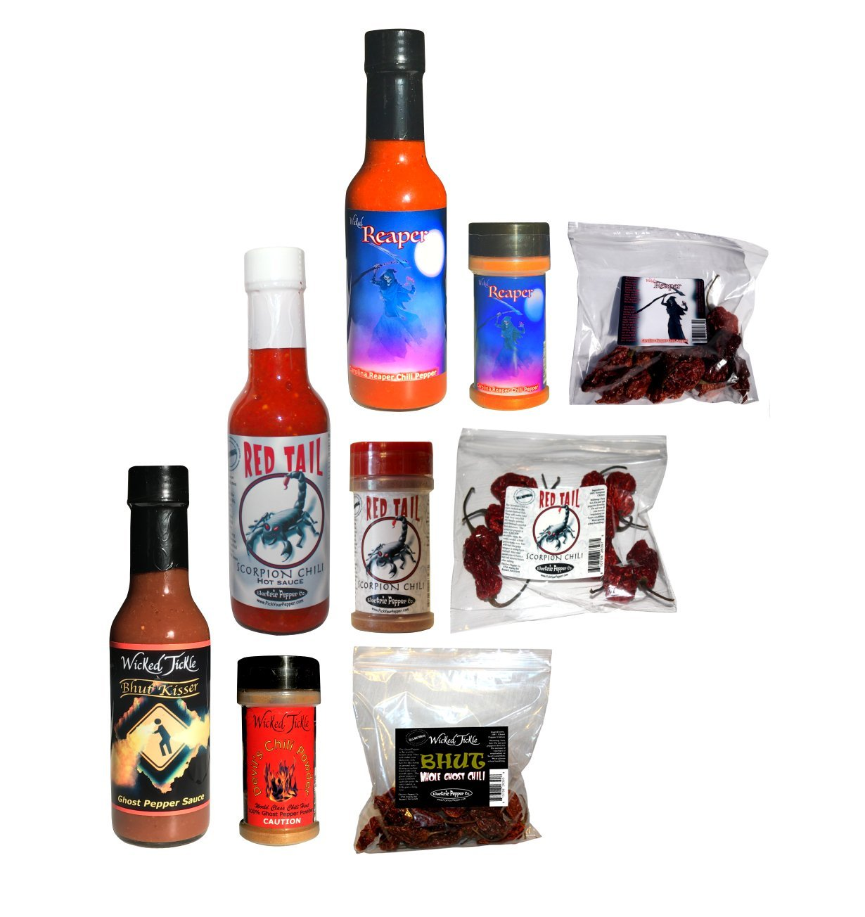 Ultimate Spice Gift Set Ghost Pepper Scorpion Reaper Hot Sauce Peppers Chili Powder Mega Pack