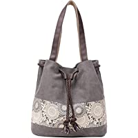 PARADOX (LABEL) Women's Cotton Canvas Retro Casual Printing Messenger Bags, Grey Medium