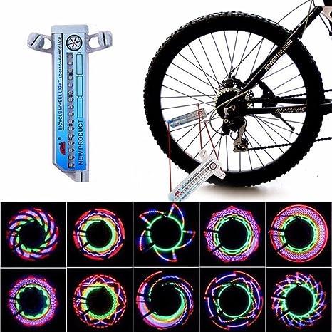 Luz LED de Rueda de Bicicleta MultiColor L/ámpara de Bicicleta Impermeable 32LED Flash Luz de Rayo de Rueda de Bici