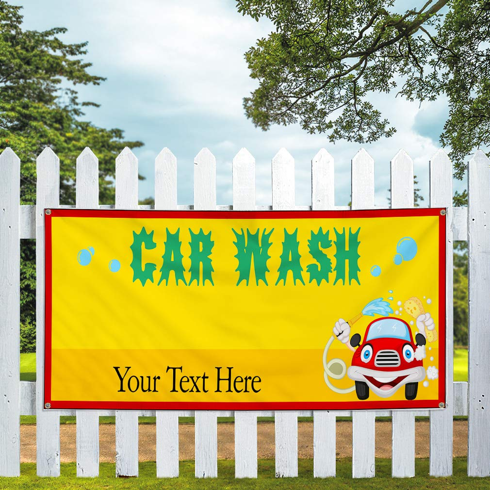 Custom Industrial Vinyl Banner Multiple Sizes Car Wash Style L Personalized Text Here Automotive Outdoor Weatherproof Yard Signs Yellow 10 Grommets 60x144Inches