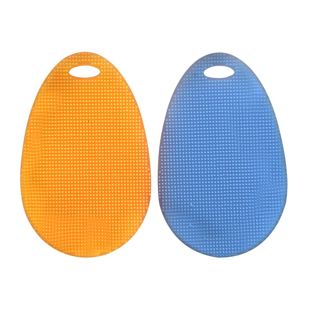 SHiZAK Multipurpose Silicone Dish Scrubber Sponge Brush for Dish Washing Multi-functional Cleaning Fruit Washer / Vegetable Cleaner / Heat-resistant Mat / Gloves (Pack of 2, Blue&Orange)