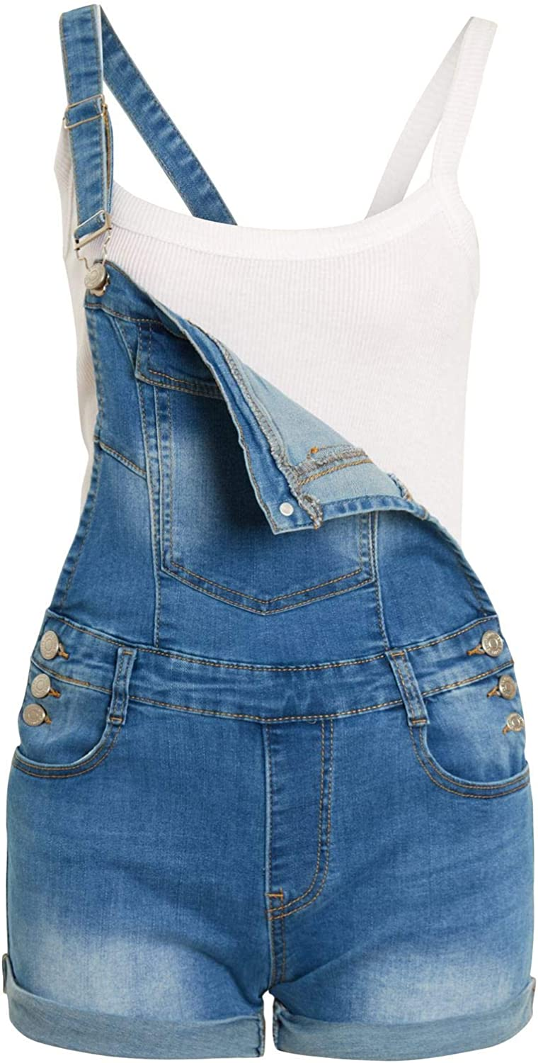 SS7 Girls Dungaree Shorts in Stretch Denim Blue