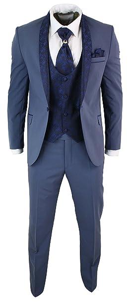 ottenere a buon mercato Raccogliere stile squisito Abito 5 Pezzi da Uomo Smoking Elegante Blu con Colletto ...
