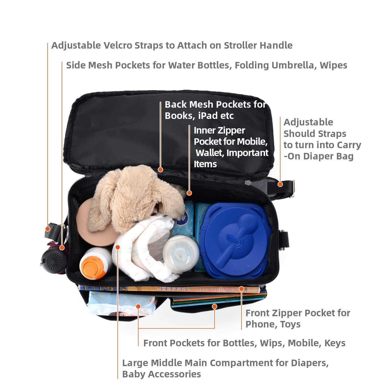 Large Baby Stroller Organizer Diaper Bag with Extra Storage, Easy Installation, Bottle Holders, Shoulder Strap for Stroller Like Uppababy, Baby Jogger, Britax, Bugaboo, BOB, Umbrella & Pet Stroller by Jenleestar (Image #8)