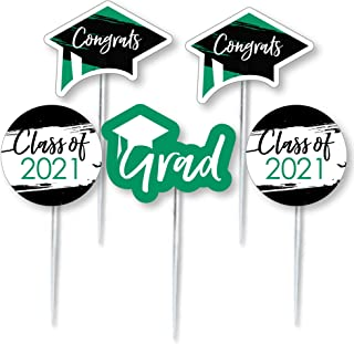 product image for Big Dot of Happiness Green Grad - Best is Yet to Come - Dessert Cupcake Toppers - Green 2021 Graduation Party Clear Treat Picks - Set of 24