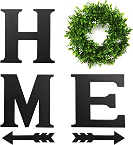 Black Wooden home sign wall hanging decor with artificial Boxwood Wreath and 2 pcs Arrows| home wall decor signs with wreath for Living room | home sign wall decor | home letters for wall with wreath