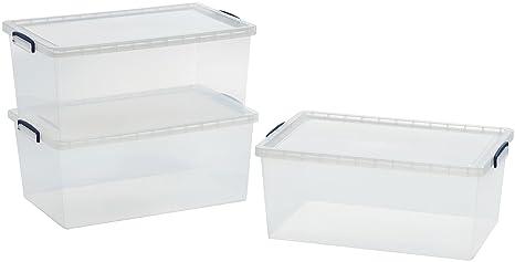 AmazonBasics - Cajas de almacenamiento de plástico con tapas (transparente, 62 litros, 3