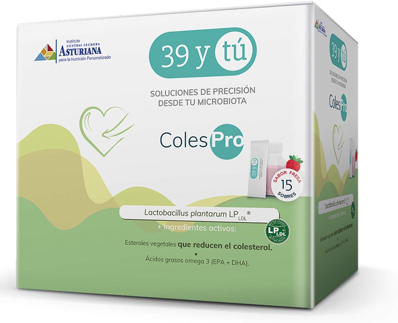 39YTU-Probióticos para reducir el colesterol – ColesPro -Mezcla de probiótico + ingrediente activo- Tratamiento 15 días+SHAKER- Sabor fresa