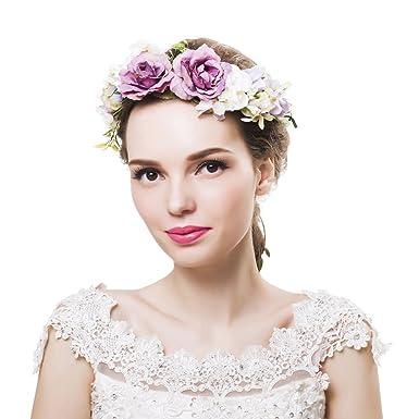 1604a1bf942 Wedding Floral Garland Flower crown Headband Vine Adjustable Ribbon for Women s  Girls Hair Accessories Ever Fairy