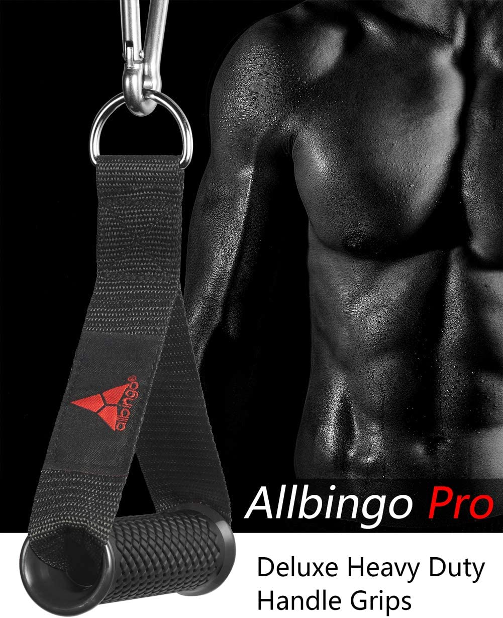 Allbingo Pro Cable Handles Compatible with Cable Machines and Bowflex Heavy Duty Exercise Hand Grips Attachment with 2 Carabiners for Resistance Bands Total Home Gym