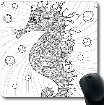 Alfombra de ratón Oblong Depth Zentangle Seahorse Adulto ...