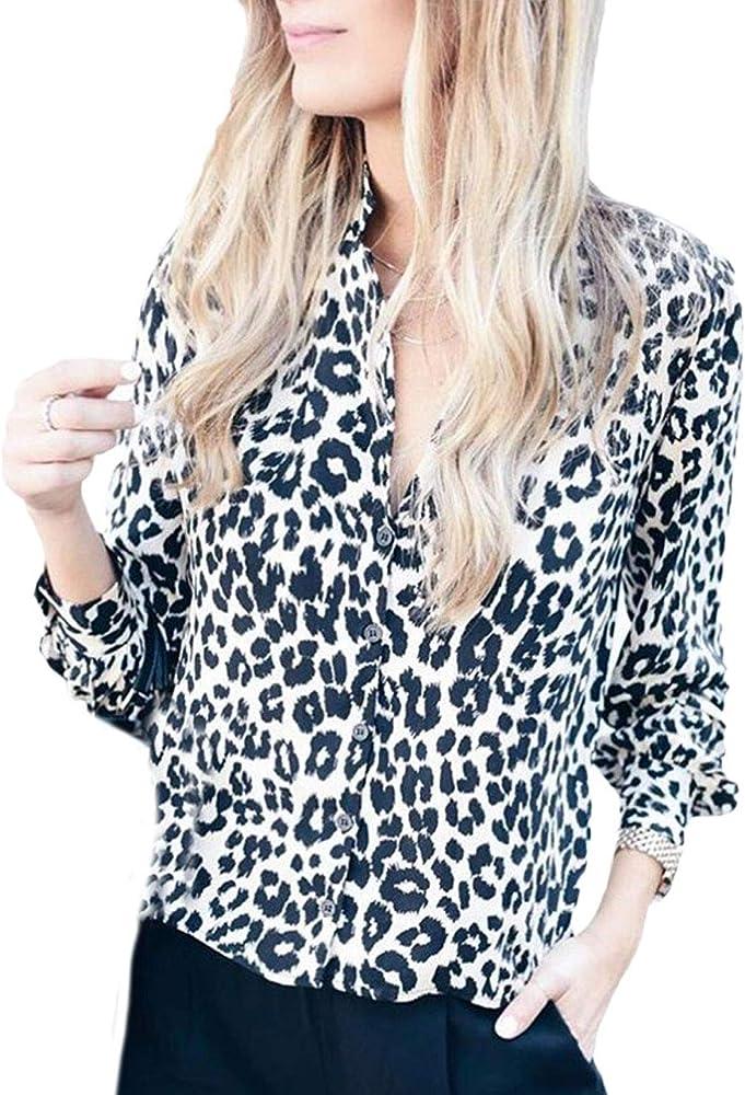 Camisa Para Mujer Blusa Leopardo Impreso Camisas De Primavera Y Verano Camisa De Manga Larga Con Cuello En V Tops Vintage Look Retro Ocio: Amazon.es: Ropa y accesorios
