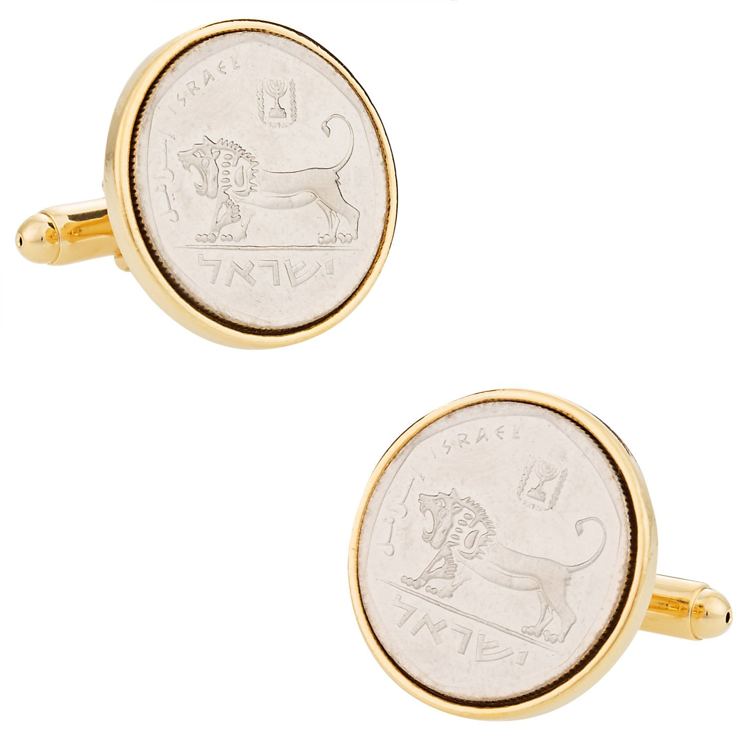 Cuff-Daddy Israeli Israel Coin Cufflinks Half Shekel with Presentation Box