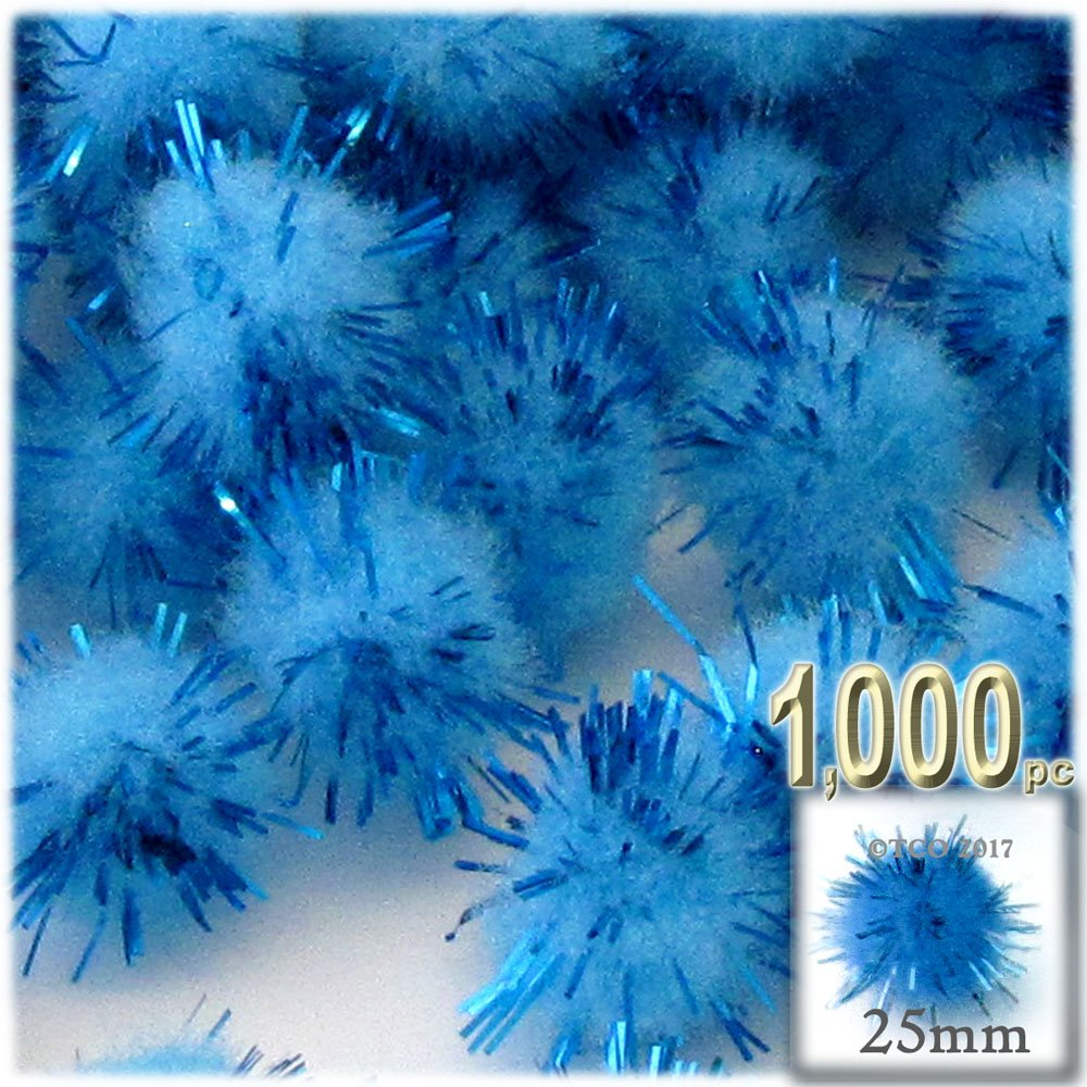 The Crafts Outlet Chenille Sparkly Pom Poms, Blue porcupine, 1.0-inch (25-mm), 1000-pc, Light Blue