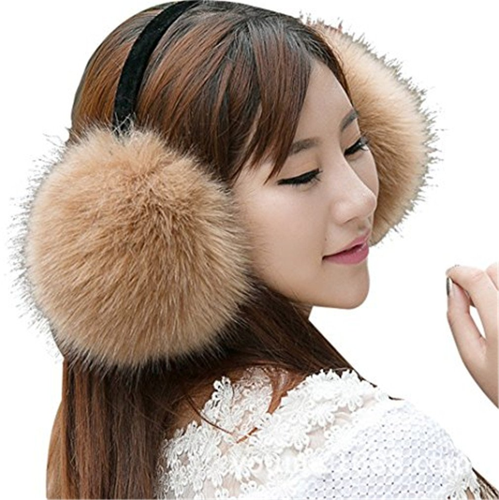 WenMei Women Headband Earmuffs Winter Warm Folding Fox Fur Earmuffs (Khaki)