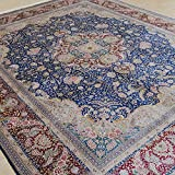 Yilong 8 x10  Large Hand Knotted Silk Carpet Classic Oriental Kerman Floral Medallion Handmade Area Rugs (Blue...