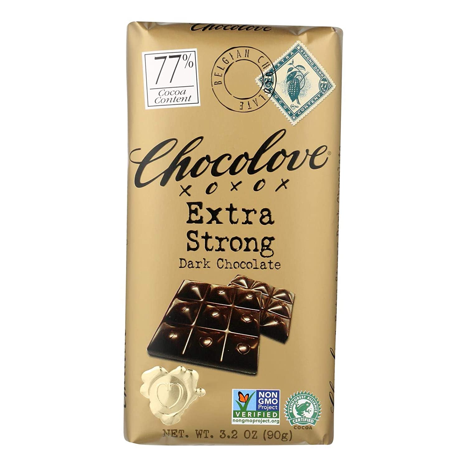 Chocolove Chocolate Bar 77% Bombing new work Extra Ounce Pack Dark 3.2 Max 44% OFF Strong
