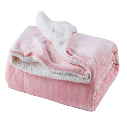Amazoncom Bedsure Sherpa Fleece Blanket Twin Size Pink Plush Throw