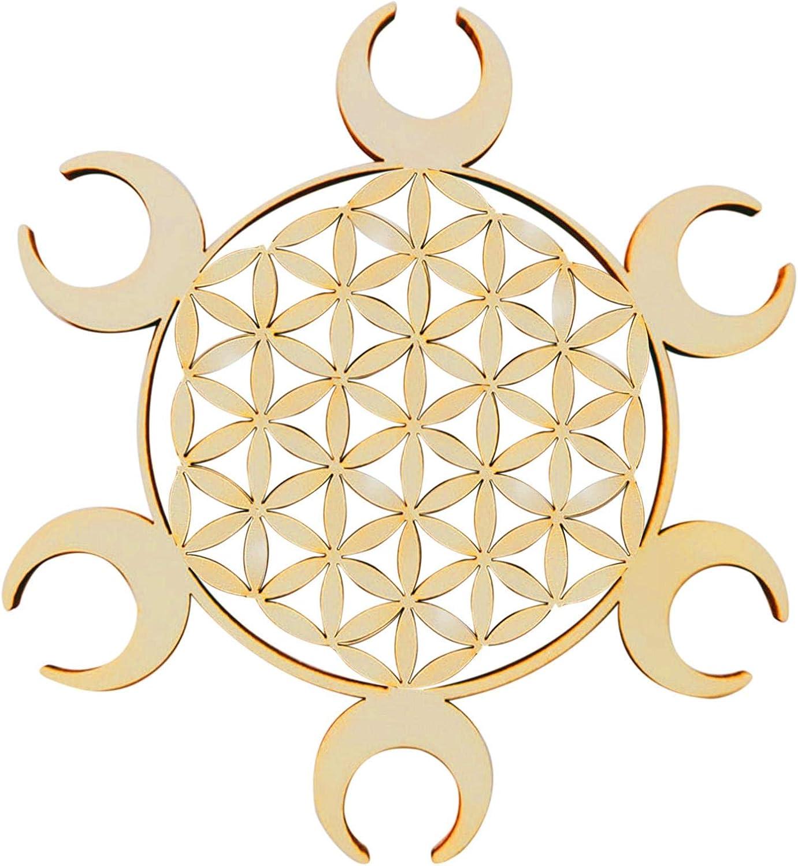 CALIDAKA Crystal Grid Board,Wooden Crystal Grid Board,Sacred Geometry Wall Art Decor,Meditation Crystal Grid Board,for Hallway,Garden,Kitchen, Living Room,Bedroom,Dining Room