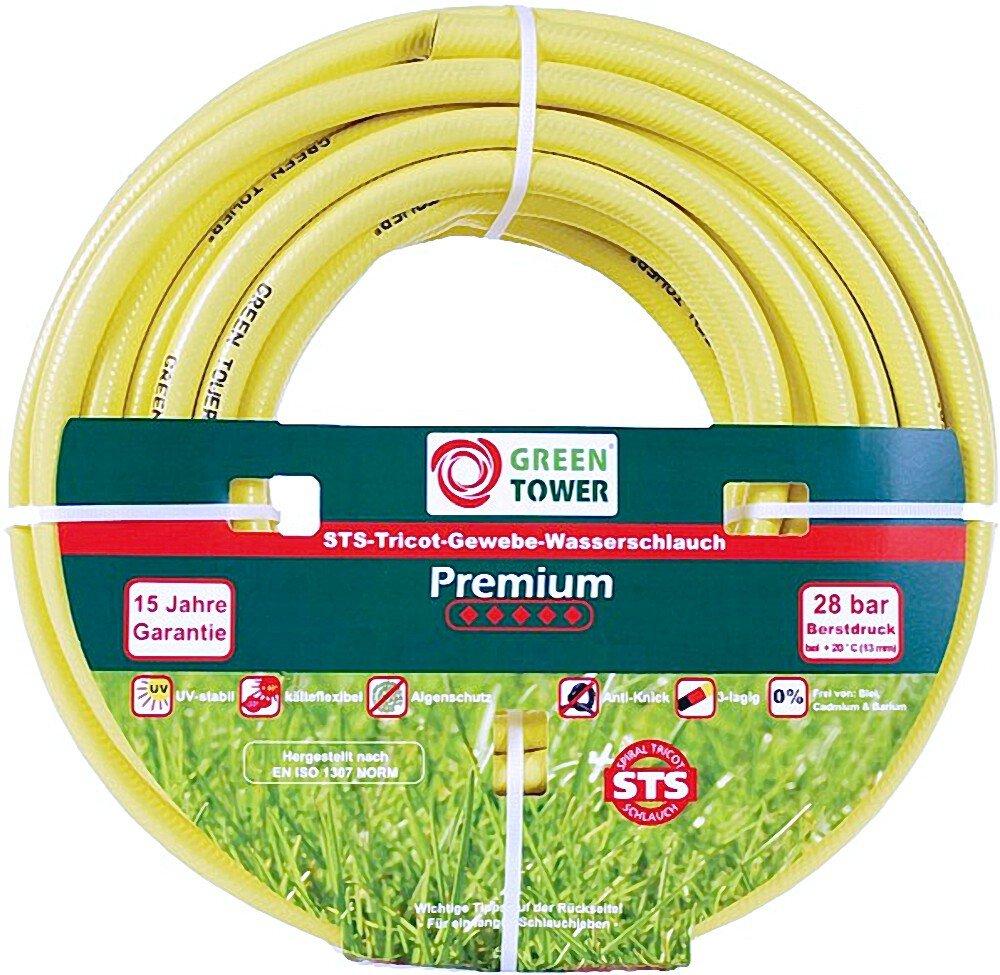 GREEN TOWER Wasserschlauch Premium 50 m STS-Tricotgewebe 25 mm 1' Gelb