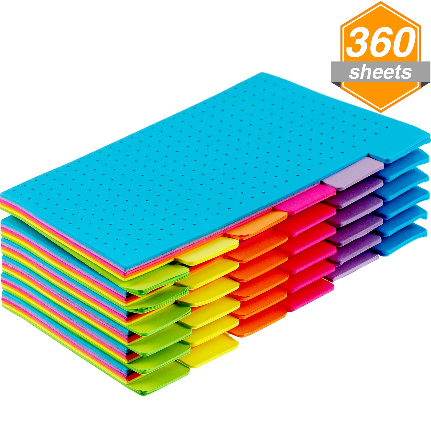 Jetec 6 Pack 6 x 4 Inches Index Tabs Bookmark Divider Sticky Notes for Students Office Home, Dotted Notes, 60 Sheets and 6 Colors Per Pack
