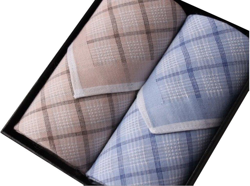 100% Cotton Soft Luxury Handkerchief in a Box (blue+cream)