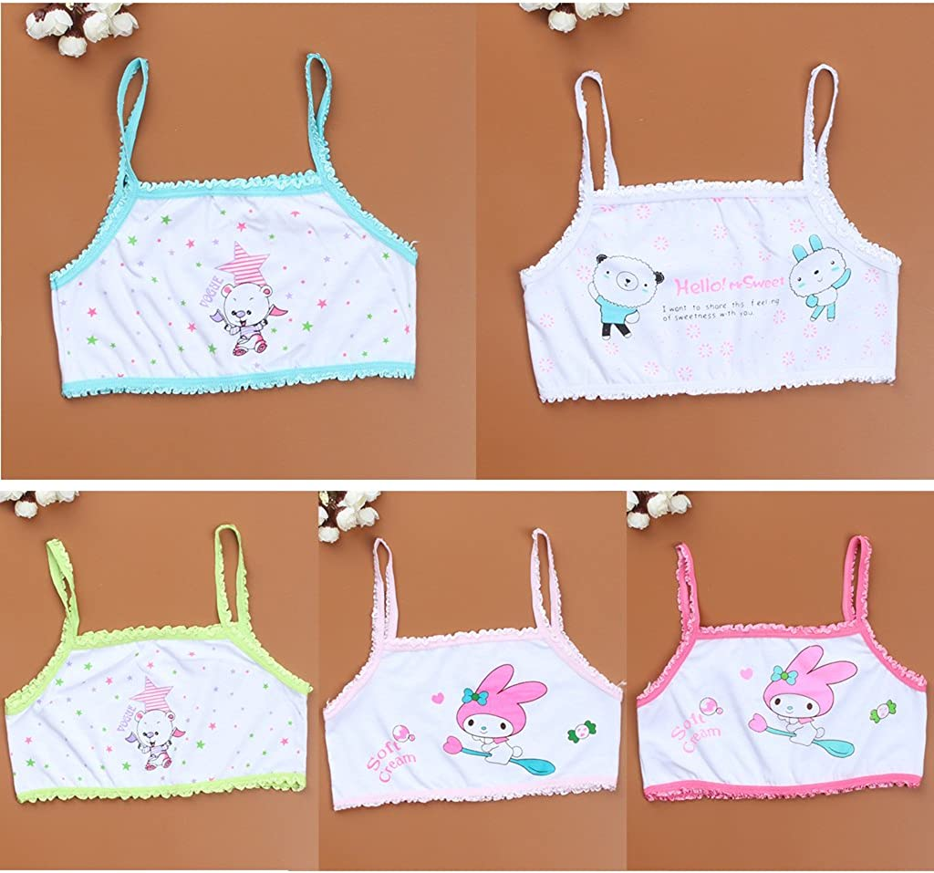 Young Girl Training Bra Children Girl Cartoon Printing Bra Teenage Underwear 1PC