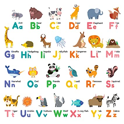 Decowall DW 1614 Colourful Animal Alphabet ABC Kids Wall Decals Stickers Peel And Stick