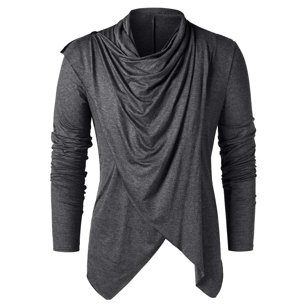 NUWFOR Men Spring Winter Vintage Solid Button Long Sleeve O Neck Tops Blouses T Shirt(Dark Gray,S US/S AS Bust:34.6'')