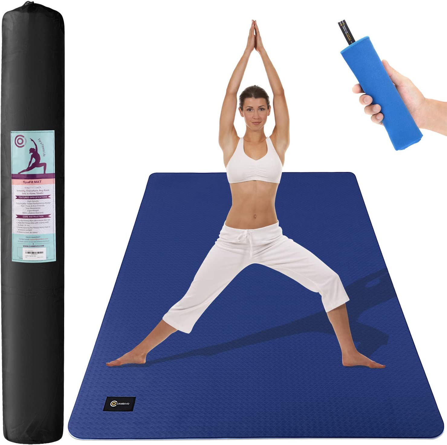 CAMBIVO Large Yoga Mat 6 x 4 x 6mm , Non-Slip Exercise Fitness Mat for Yoga, Pilates, Workout