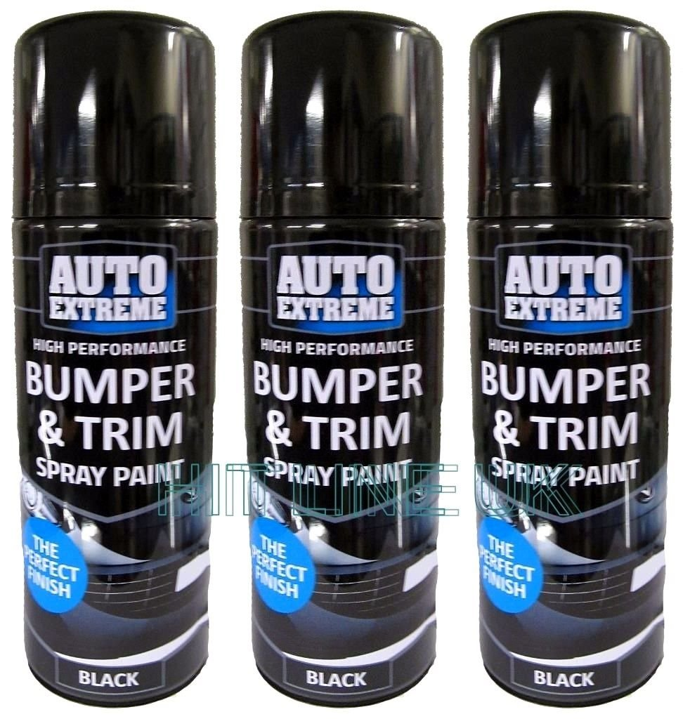 Car Paint Spray Can.3 X Black Auto Extreme Plastic Bumper Trim Spray Can Restorer Car Bike Auto Paint 200ml Cans New Hlu