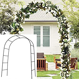 Metal Garden Arbor Wedding Arch 7.9 Ft H x 4.6 Ft W 1 Set Outdoor Indoor Lightweight Assemble Freely Metal Arch for Various Climbing Plant Roses Vines Bridal Party Decoration Pergola Arbor (Black)