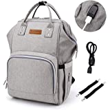 Baby Changing Bag with Stroller Straps and USB Charging Port,Nappy Changing Backpack with Wide Open(Grey)