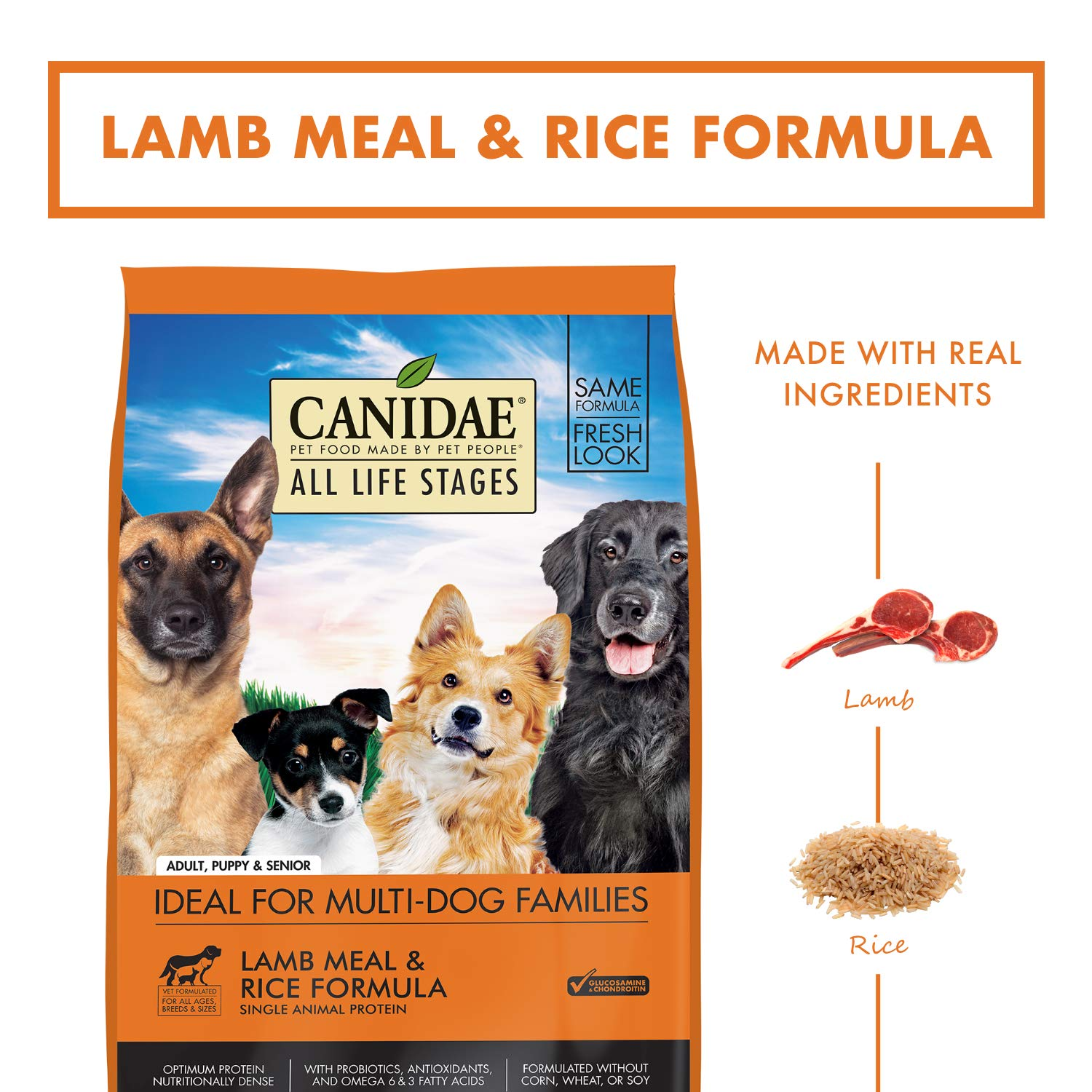 5. CANIDAE All Life Stages Lamb Meal & Rice Formula Dry Dog Food