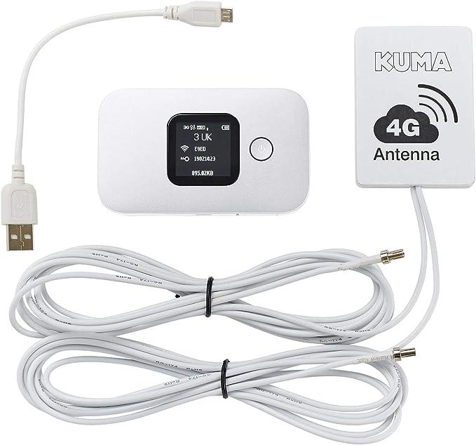 KUMA 4G Wifi Amplificador con SIM Tarjeta Enrutador Kit - Portátil LTE Hotspot Internet Señal con Largo Alcance Antena para TV Móvil PC Laptop - ...