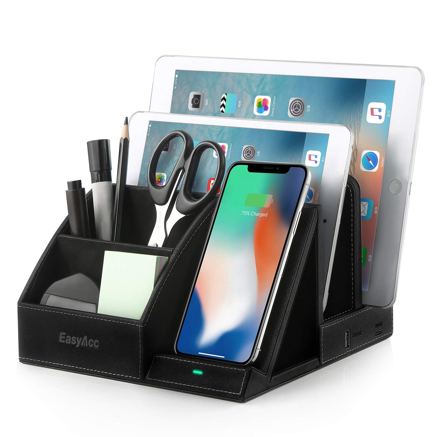 EasyAcc Fast Wireless Charger Desk Organizer with USB Charging Docking Stand, Multi-Device iPad Station Dock, Induction Charger for iPhone X XS MAX XR 8 Plus, Samsung S10e S9 S8 S8+