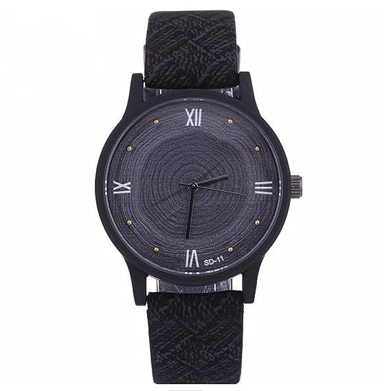 vavna nueva marca Fashion anillos de crecimiento árbol Imprimir Dial de cuero cuarzo relojes para hombres mujeres: Amazon.es: Relojes