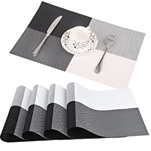 famibay PVC Place Mats - Heat Insulation PVC Placemats Stain-Resistant Woven Vinyl Table Mats for Kitchen Set of 4-30x45 cm (Black)