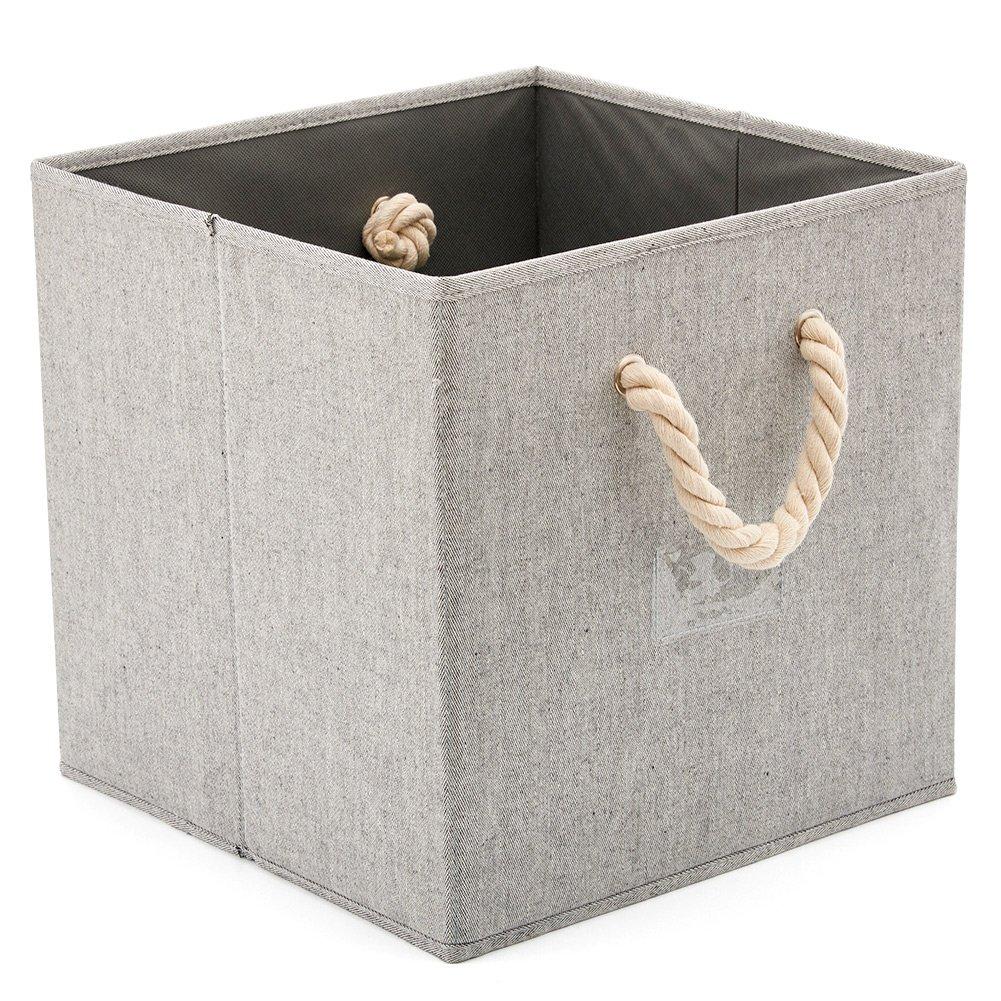 Cubo Decorativa de Tela Plegable Resistente con Manijas para Ropa EZOWare 3 pcs Cajas de Almacenaje Juguetes Estanter/ías y Mas Dormitorio Color Gris Armario 33x33x33cm