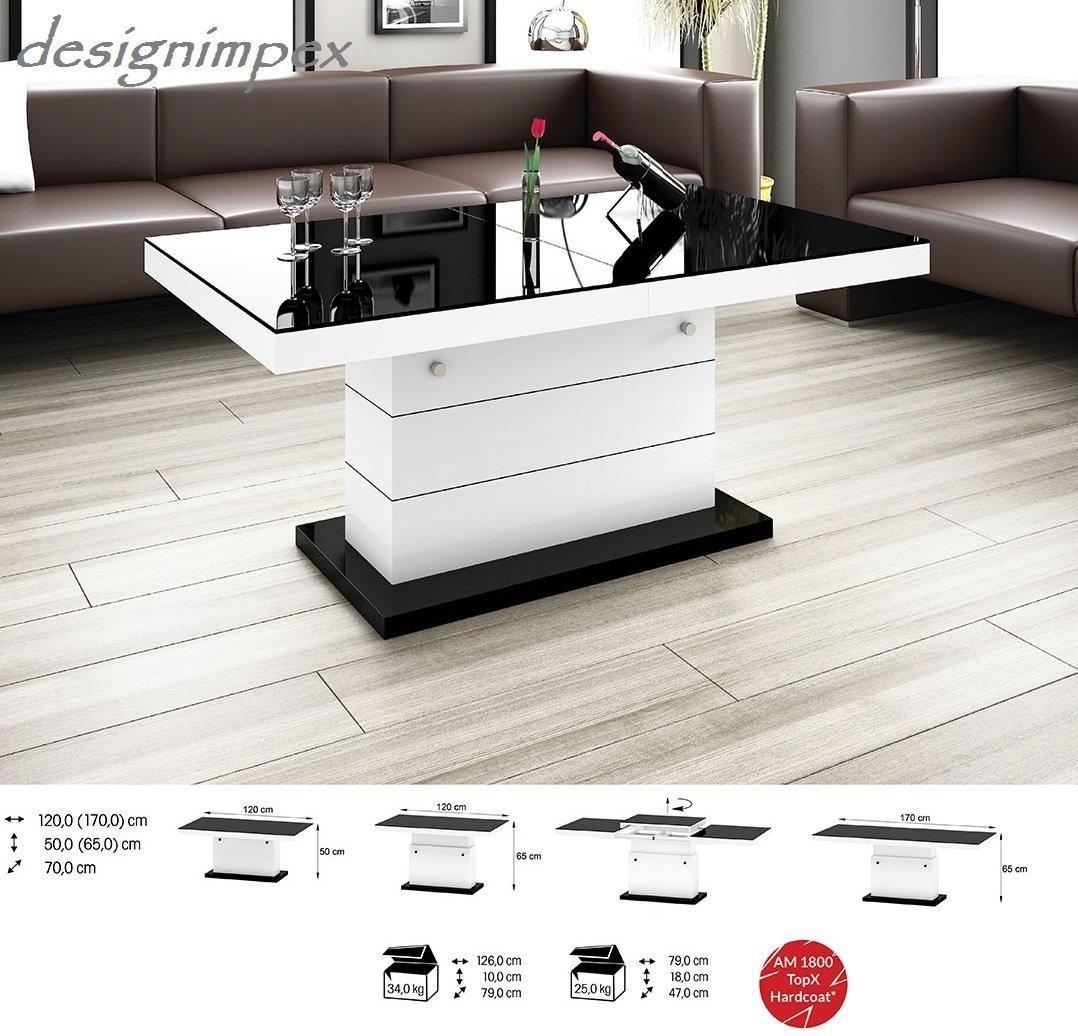 Design Couchtisch H 333 Weiss Schwarz Hochglanz Hhenverstellbar Ausziehbar Tisch Wohnzimmertisch Amazonde Kche Haushalt