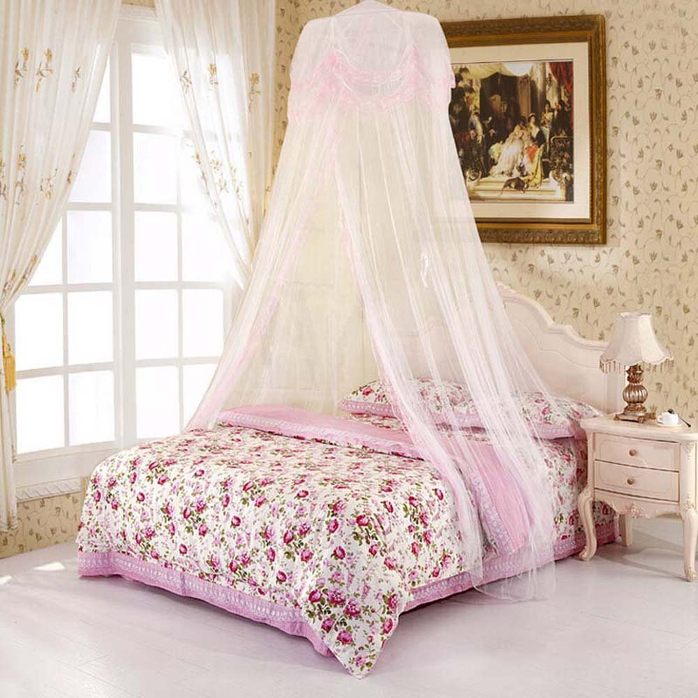 Nattey Canopy Bed Curtains For Girls Bed Canopies Mosquito Net Twin Full Queen Size White Pink Color