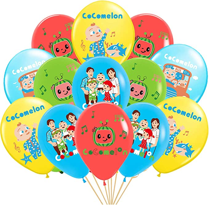 HAOORYX 60Pcs Cocomelon Balloons Party Supplies 12 Cartoon Latex Balloons Cute Super Baby JOJO Bath Song Theme Parties Favors for Baby Shower Kids Birthday Party Decorations Room Decor