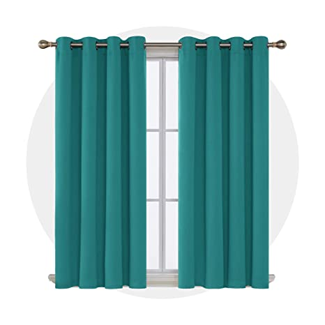 Deconovo Cortinas Dormitorio Opacas Suaves con Ojales 2 Piezas 117 x 138 cm Turquesa