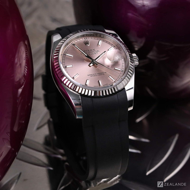 Bracelet Caoutchouc pour Rolex® DateJust 36mm (6 chiffres) Noir