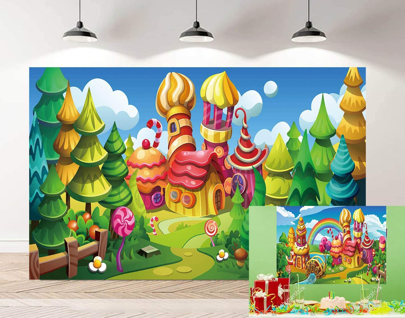 GYA 7x5ft Cartoon Fairy Forest Candyland Photo Backdrop Colorful Candy Houses Lollipop Village Photography Background Baby Shower Kids Birthday Party Banner Studio Props