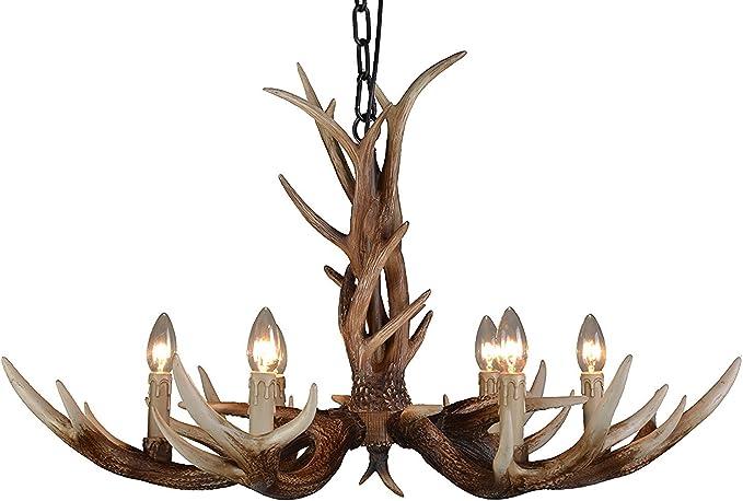 Antler Chandelier 6 Light,Deer Horn Chandeliers Vintage Style Ceiling Light Amercian Rustic Antler Chandeliers for Living Room,Dining Room