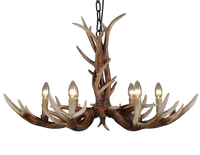 EFFORTINC Antlers vintage Style resin 6 light chandeliers American rural countryside antler chandeliers,Living room,Bar,Cafe Dining room deer horn chandeliers